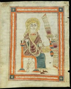 St. Gall 1395, folio 418r: John the Evangelist writing his gospel, from e-codices