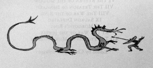 Tolkien's dragon, printed before the title page, from the holdings of Tolkien Drawings in the Bodleian Library at the University of Oxford.