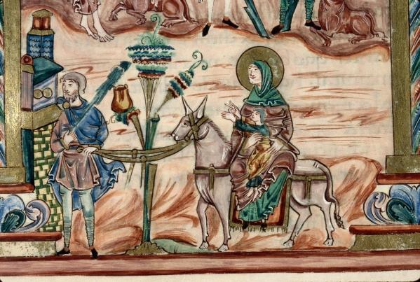 sacramentary-of-robert-jumieges-flight-into-egypt-33r-detail