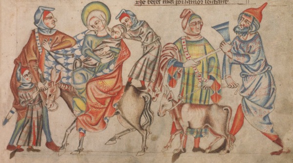 Holy Family with Robbers (BL, Add 47682, fol. 14r)