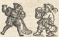 drunkard vomiting woodcut