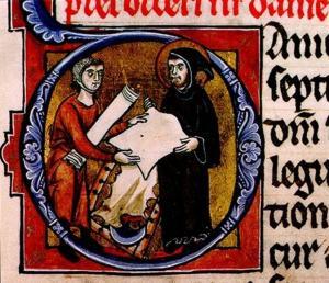 Jerome inspects parchment
