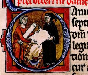 Jerome inspects parchment